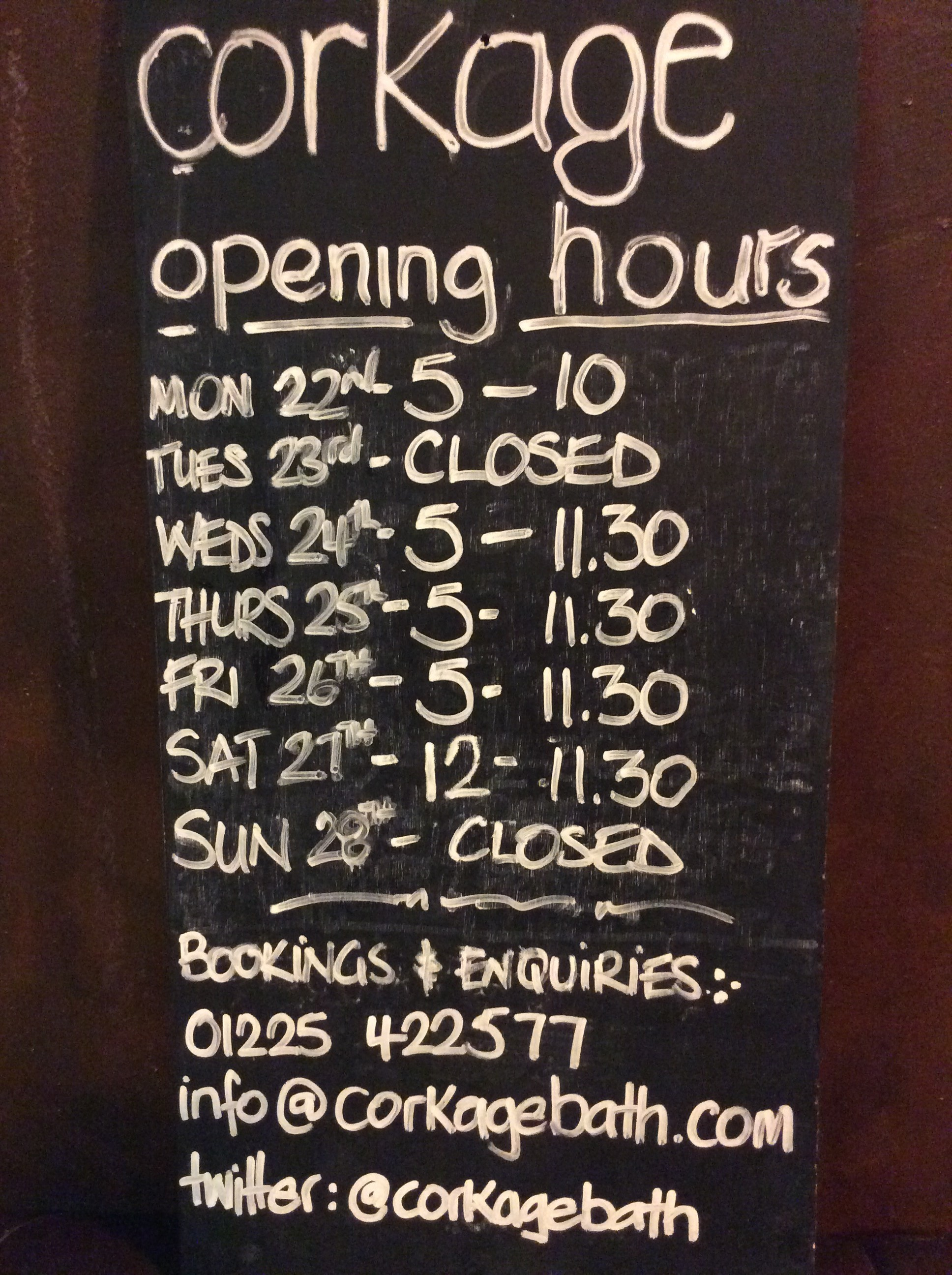 Opening hours next week corkage for V bathroom opening hours