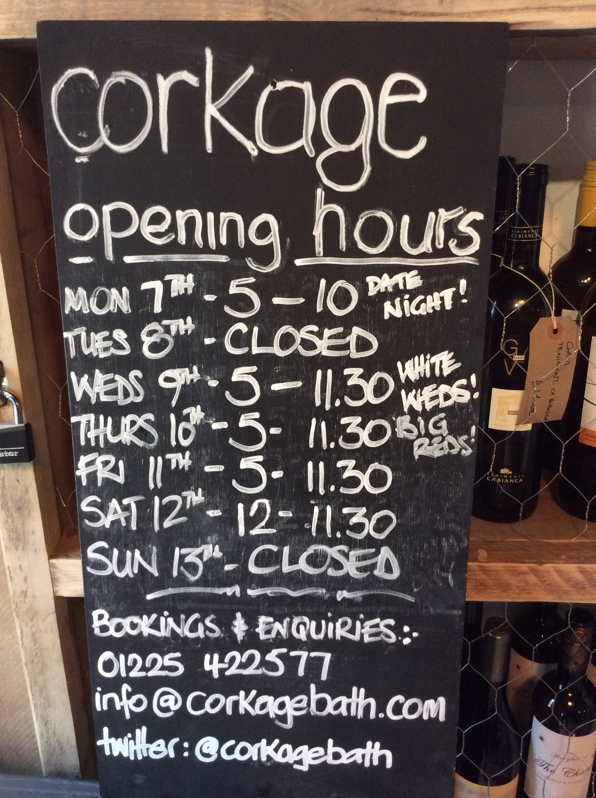 Opening hours and events this week corkage for V bathroom opening hours